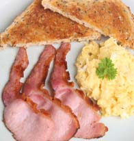 Scrambled Eggs and Peameal Bacon