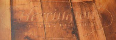 Herrington's logo engraved on counter top