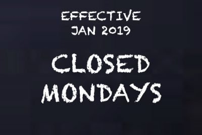 Closed Mondays in 2019