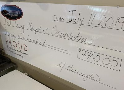 2019 Cheque donation for Goodness Steak Fundraiser