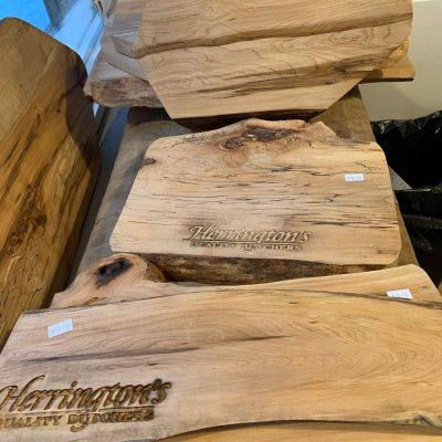 charcuterie boards with Herrington's logo
