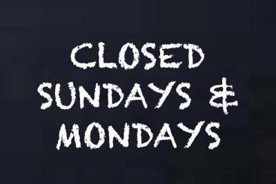 Closed Sun & Mon