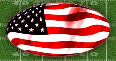 American flag in shape of football for Super Bowl